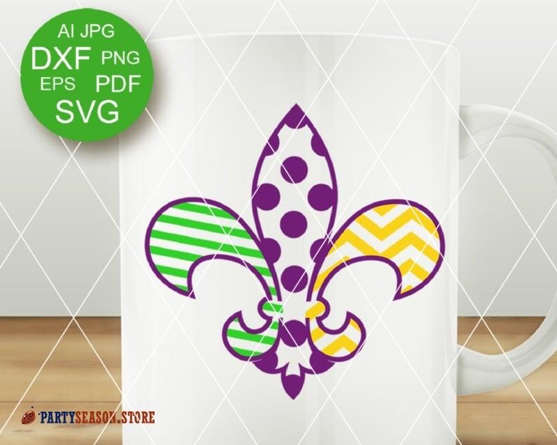 SVG Fleur de Lis Outline Monogram DXF Mardi Gras Fat tuesday PDF