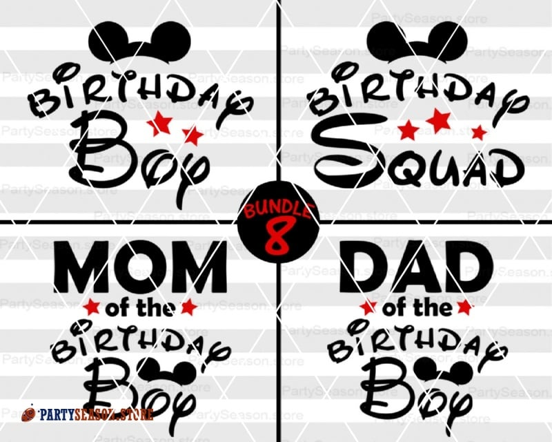 Disney BUNDLE Svg Birthday Boy Family Shirt Bundle 8 Squad Mickey Mouse Ears Cut Files Dxf